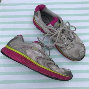 Ryka Virtue Lo Gray Pink and Green Sneakers